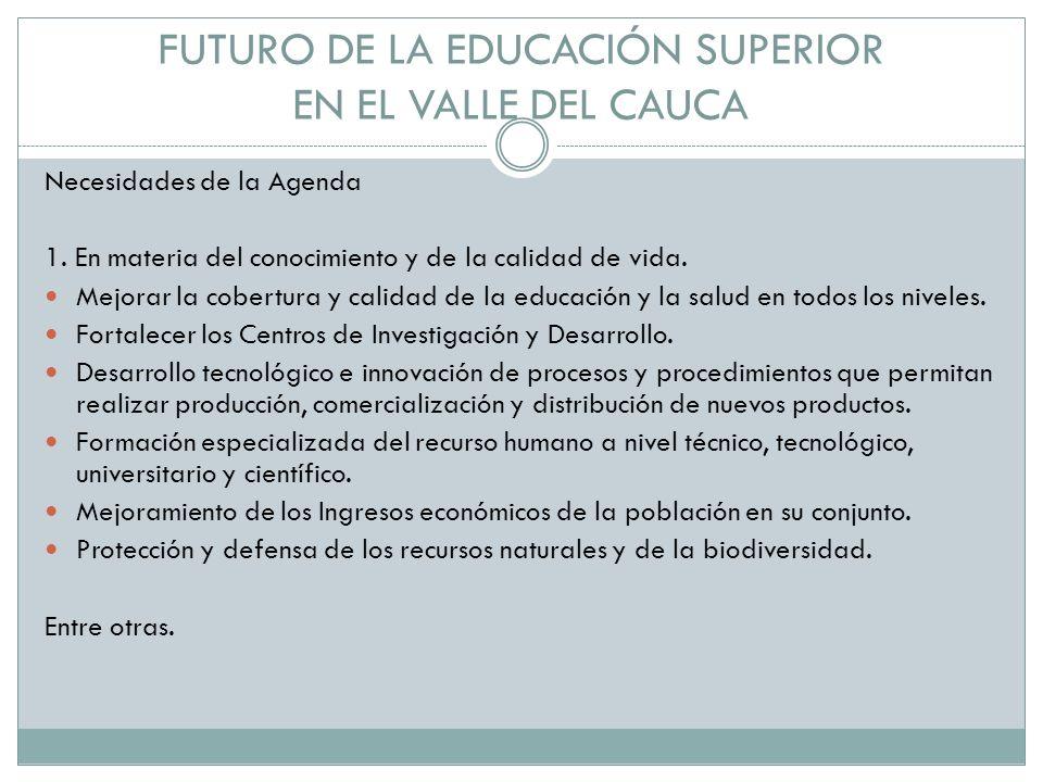 FUTURO DE LA EDUCACIÓN SUPERIOR EN EL VALLE DEL CAUCA Necesidades de la Agenda 1.