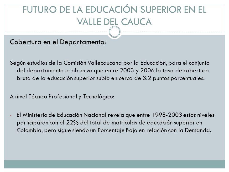 FUTURO DE LA EDUCACIÓN SUPERIOR EN EL VALLE DEL CAUCA Cobertura en el Departamento: Según estudios de la Comisión Vallecaucana por la Educación, para el conjunto del departamento se observa que entre 2003 y 2006 la tasa de cobertura bruta de la educación superior subió en cerca de 3.2 puntos porcentuales.