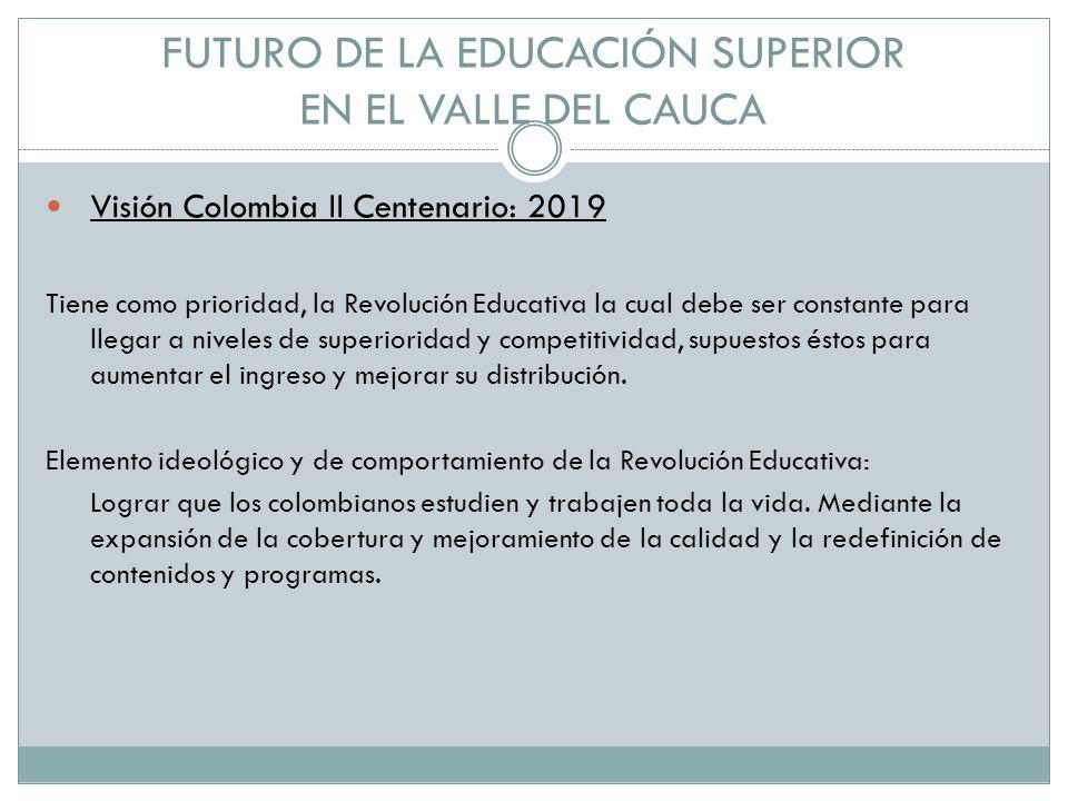 FUTURO DE LA EDUCACIÓN SUPERIOR EN EL VALLE DEL CAUCA Visión Colombia II Centenario: 2019 Tiene como prioridad, la Revolución Educativa la cual debe ser constante para llegar a niveles de superioridad y competitividad, supuestos éstos para aumentar el ingreso y mejorar su distribución.