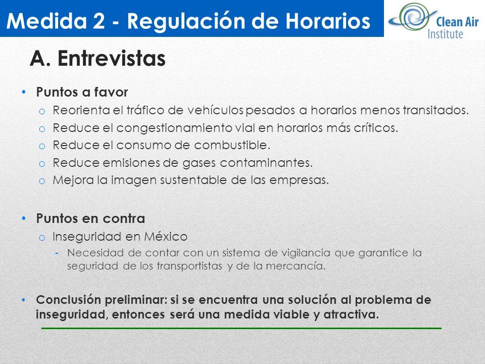 Medida 2 - Regulación de Horarios Puntos a favor o Reorienta el tráfico de vehículos pesados a horarios menos transitados. o Reduce el congestionamien