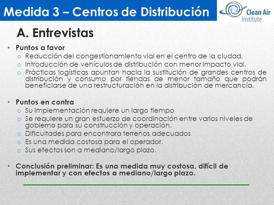 Medida 3 – Centros de Distribución Puntos a favor o Reducción del congestionamiento vial en el centro de la ciudad. o Introducción de vehículos de dis