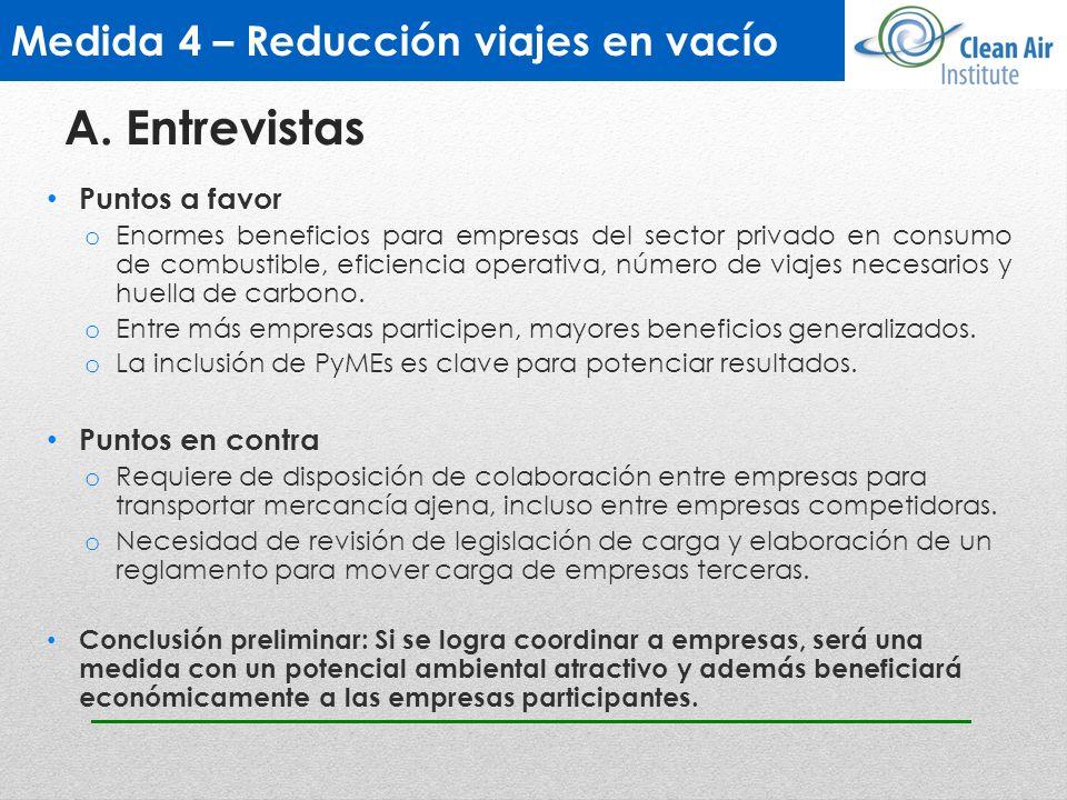 Medida 4 – Reducción viajes en vacío Puntos a favor o Enormes beneficios para empresas del sector privado en consumo de combustible, eficiencia operat