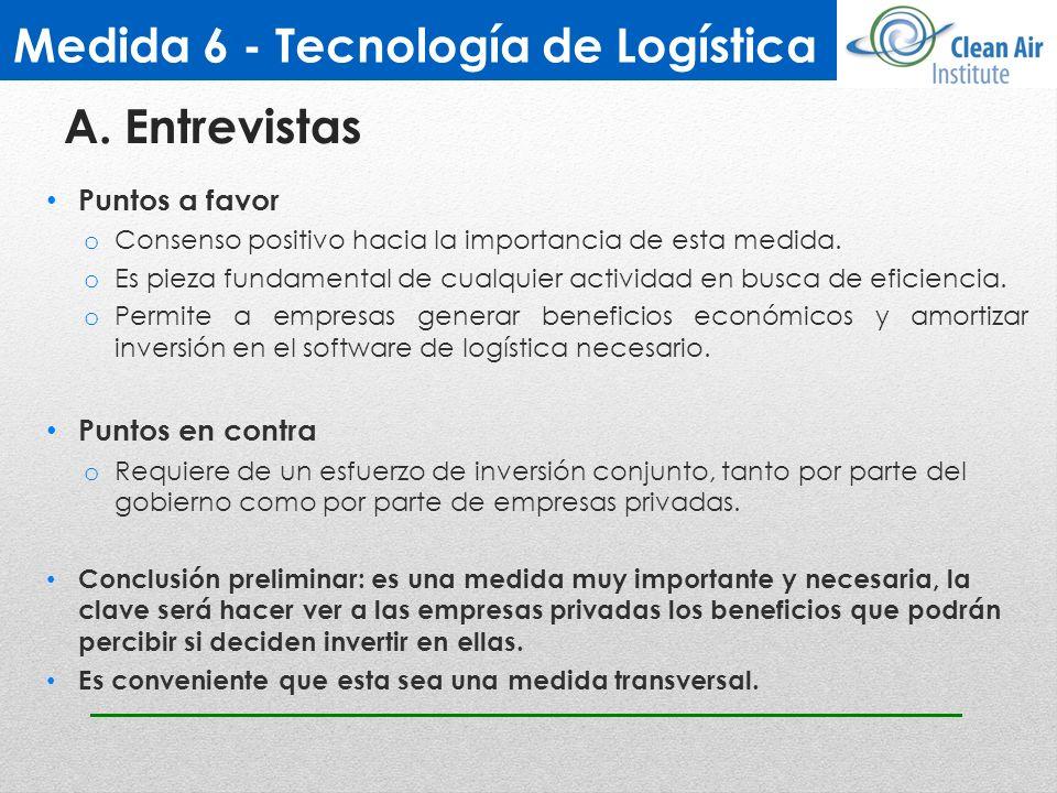 Medida 6 - Tecnología de Logística Puntos a favor o Consenso positivo hacia la importancia de esta medida. o Es pieza fundamental de cualquier activid