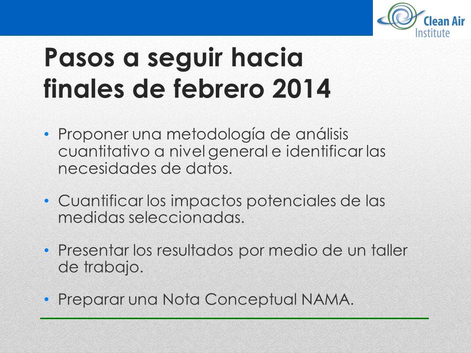 Pasos a seguir hacia finales de febrero 2014 Proponer una metodología de análisis cuantitativo a nivel general e identificar las necesidades de datos.