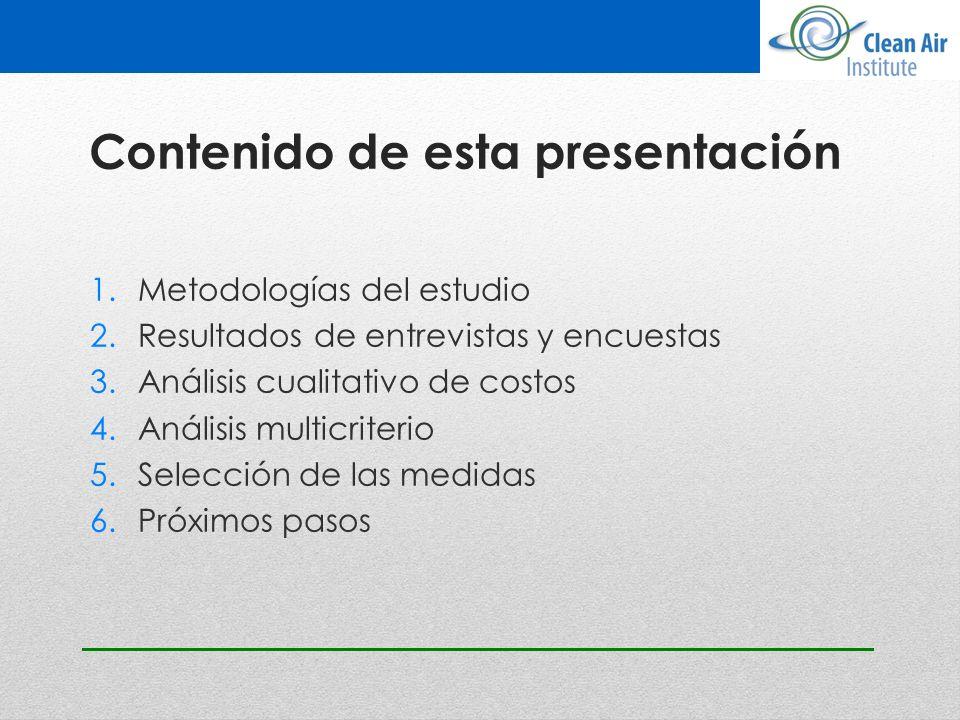 Contenido de esta presentación 1.Metodologías del estudio 2.Resultados de entrevistas y encuestas 3.Análisis cualitativo de costos 4.Análisis multicri