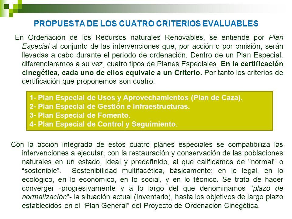PROPUESTA DE LOS CUATRO CRITERIOS EVALUABLES En Ordenación de los Recursos naturales Renovables, se entiende por Plan Especial al conjunto de las inte