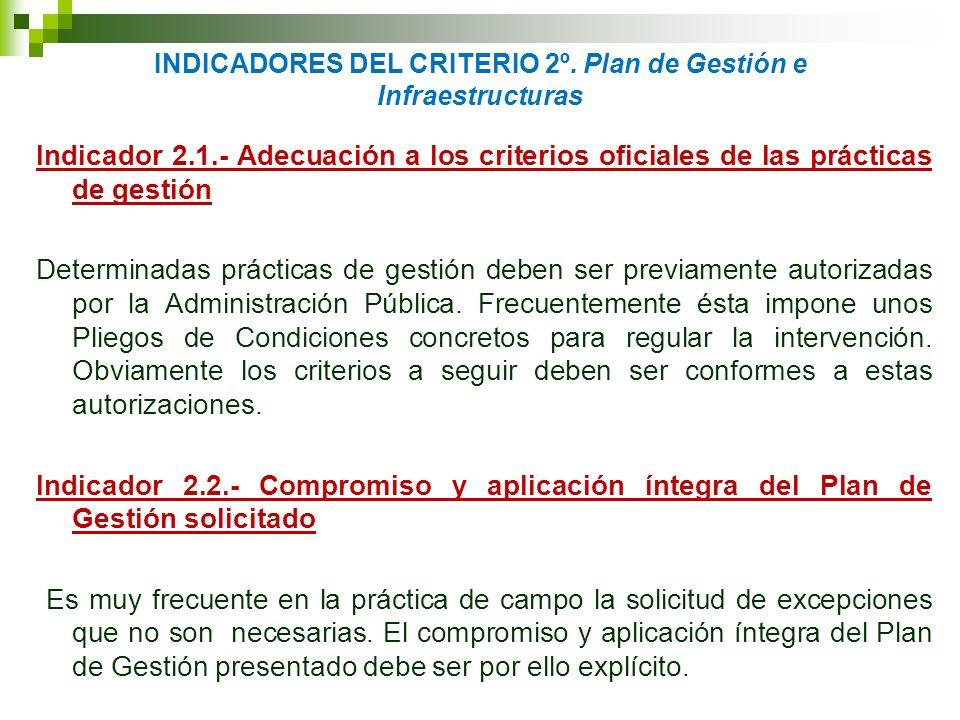 INDICADORES DEL CRITERIO 2º. Plan de Gestión e Infraestructuras Indicador 2.1.- Adecuación a los criterios oficiales de las prácticas de gestión Deter