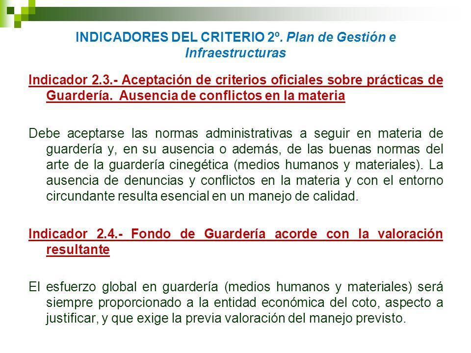 INDICADORES DEL CRITERIO 2º. Plan de Gestión e Infraestructuras Indicador 2.3.- Aceptación de criterios oficiales sobre prácticas de Guardería. Ausenc