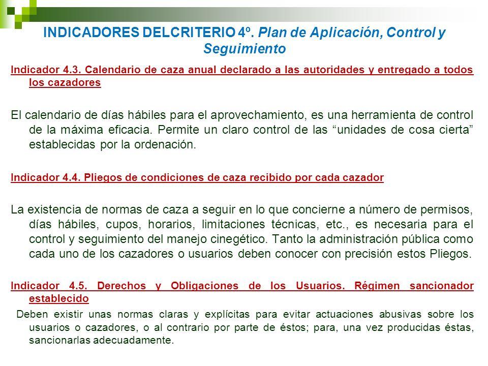INDICADORES DELCRITERIO 4º. Plan de Aplicación, Control y Seguimiento Indicador 4.3. Calendario de caza anual declarado a las autoridades y entregado