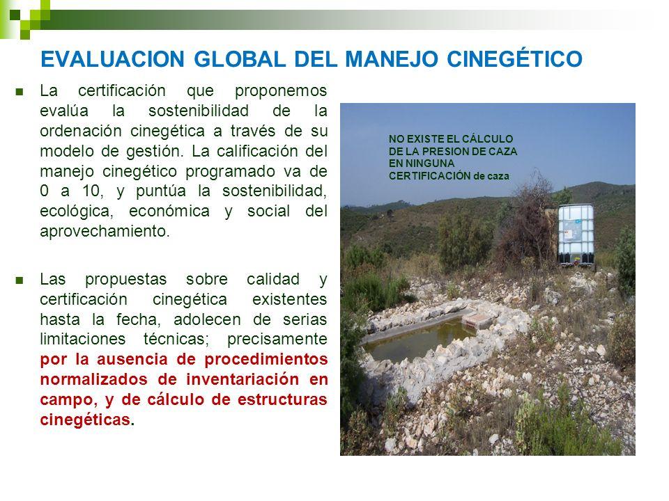 EVALUACION GLOBAL DEL MANEJO CINEGÉTICO La certificación que proponemos evalúa la sostenibilidad de la ordenación cinegética a través de su modelo de