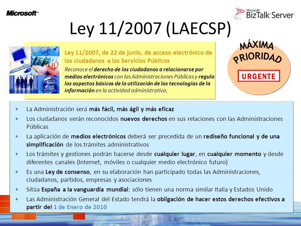 Ley 11/2007 (LAECSP) Así, para su puesta en marcha, el MAP ha definido un Plan de Actuación de la LAECSP: Servicios Públicos centrados en los ciudadanos Adaptación y simplificación de los procedimientos administrativos Disponibilidad de infraestructuras y servicios comunes Líneas de Actuación Verticales Líneas de Actuación Horizontales Interoperabilidad y la seguridad Formación y capacitación de los empleados públicos Gestión y seguimiento del Plan Reutilización de aplicaciones entre Administraciones Elaboración de informes sobre el desarrollo de la Administración electrónica en España