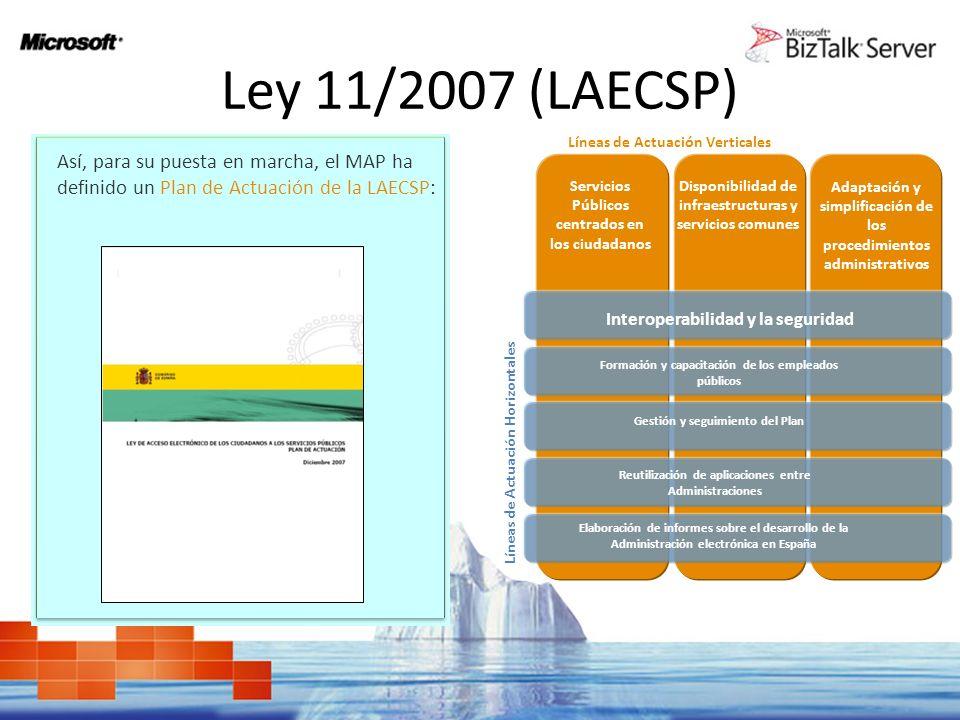 Ley 11/2007 (LAECSP) Interoperabilidad en la LAECSP El Plan contempla los instrumentos descritos en la Ley y los incorpora dentro de un marco estratégico y de actuación, a desarrollar en los próximos años, en el ámbito de la Administración General del Estado.