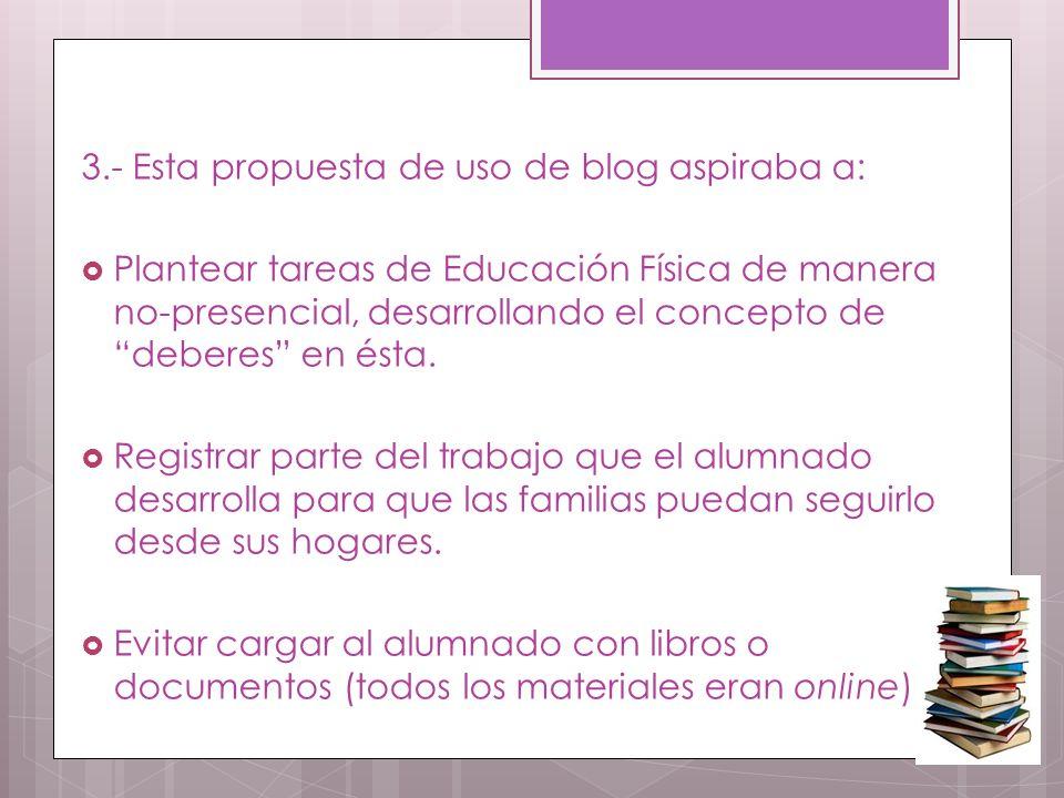 3.- Esta propuesta de uso de blog aspiraba a: Plantear tareas de Educación Física de manera no-presencial, desarrollando el concepto de deberes en ésta.