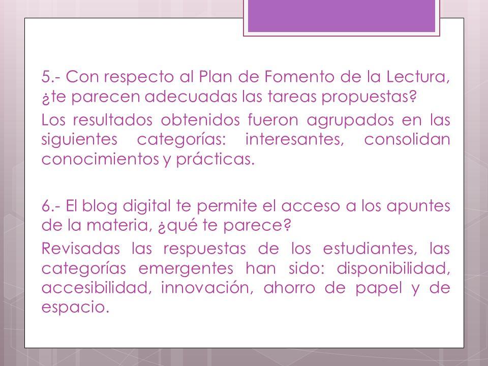 5.- Con respecto al Plan de Fomento de la Lectura, ¿te parecen adecuadas las tareas propuestas.