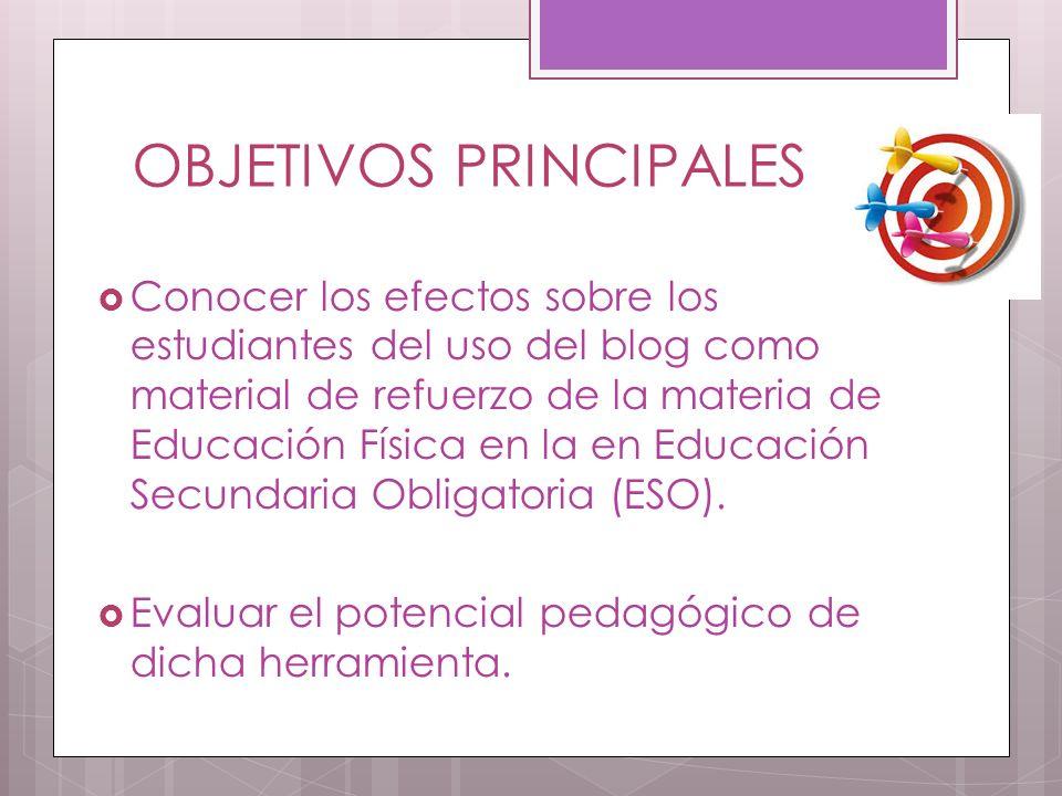OBJETIVOS PRINCIPALES Conocer los efectos sobre los estudiantes del uso del blog como material de refuerzo de la materia de Educación Física en la en Educación Secundaria Obligatoria (ESO).