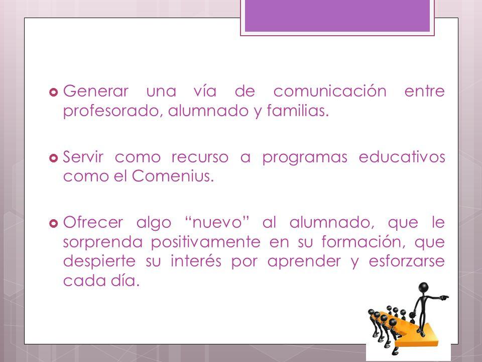 Generar una vía de comunicación entre profesorado, alumnado y familias.