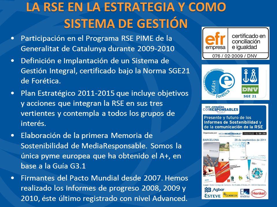 Participación en el Programa RSE PIME de la Generalitat de Catalunya durante 2009-2010 Definición e Implantación de un Sistema de Gestión Integral, certificado bajo la Norma SGE21 de Forética.