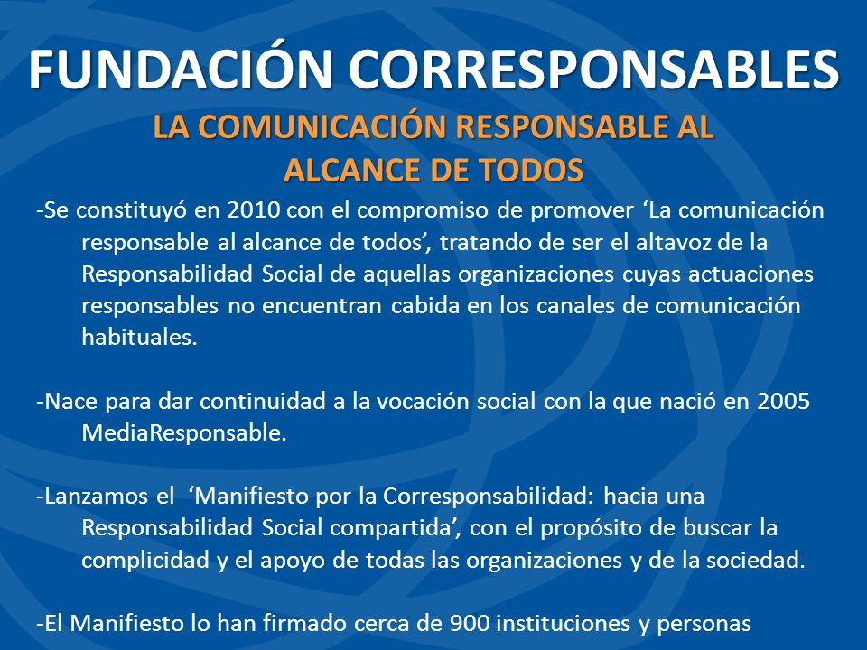 -Se constituyó en 2010 con el compromiso de promover La comunicación responsable al alcance de todos, tratando de ser el altavoz de la Responsabilidad Social de aquellas organizaciones cuyas actuaciones responsables no encuentran cabida en los canales de comunicación habituales.