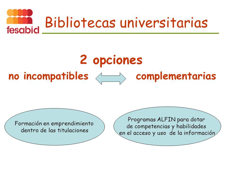 Bibliotecas universitarias 2 opciones no incompatibles complementarias Formación en emprendimiento dentro de las titulaciones Programas ALFIN para dotar de competencias y habilidades en el acceso y uso de la información