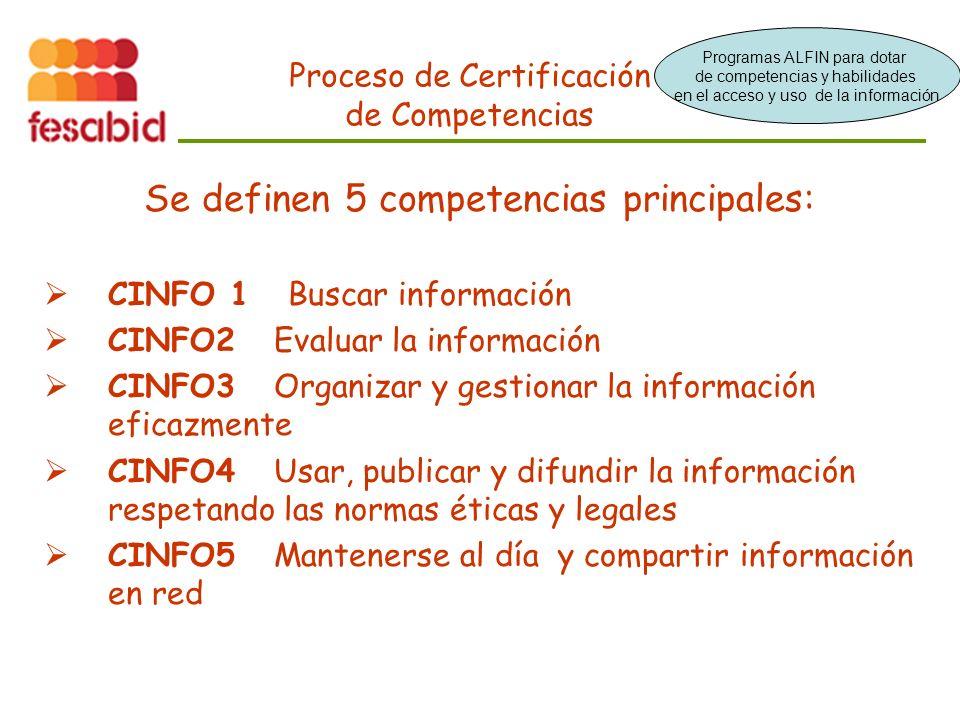 Proceso de Certificación de Competencias Se definen 5 competencias principales: CINFO 1 Buscar información CINFO2 Evaluar la información CINFO3 Organizar y gestionar la información eficazmente CINFO4 Usar, publicar y difundir la información respetando las normas éticas y legales CINFO5 Mantenerse al día y compartir información en red Programas ALFIN para dotar de competencias y habilidades en el acceso y uso de la información