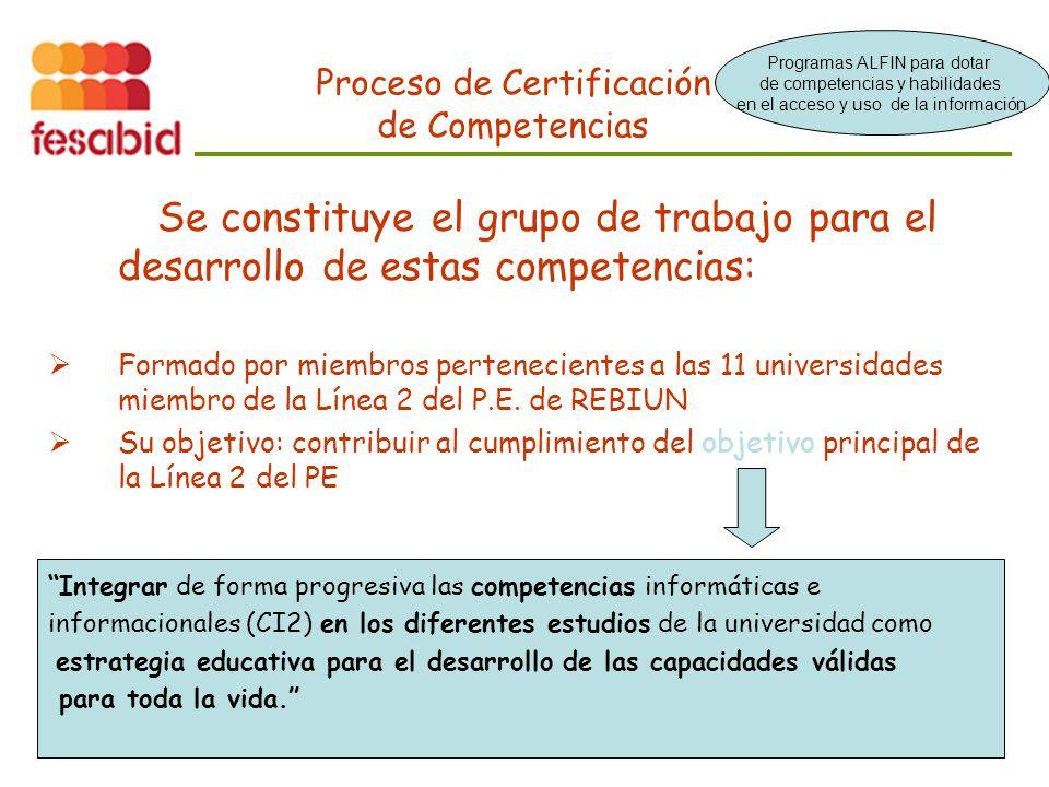 Proceso de Certificación de Competencias Se constituye el grupo de trabajo para el desarrollo de estas competencias: Formado por miembros pertenecientes a las 11 universidades miembro de la Línea 2 del P.E.