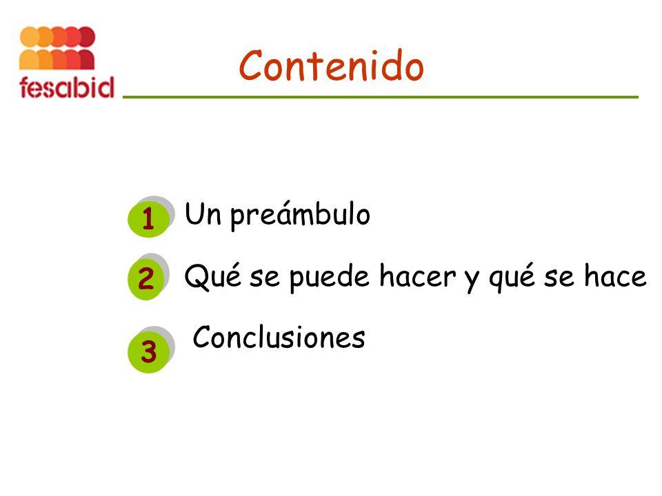 Un preámbulo Qué se puede hacer y qué se hace Conclusiones Contenido 1 1 2 2 3 3