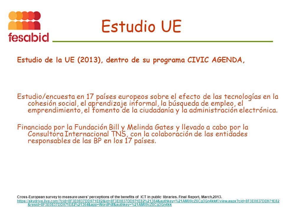 Estudio UE Estudio de la UE (2013), dentro de su programa CIVIC AGENDA, Estudio/encuesta en 17 países europeos sobre el efecto de las tecnologías en la cohesión social, el aprendizaje informal, la búsqueda de empleo, el emprendimiento, el fomento de la ciudadanía y la administración electrónica.