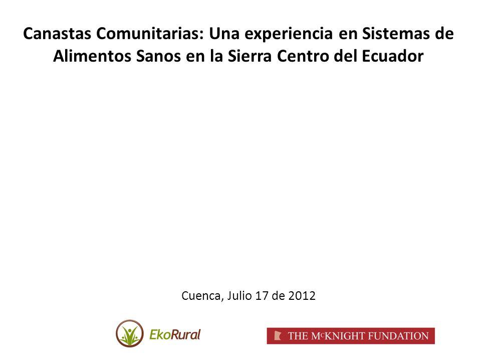 Canastas Comunitarias: Una experiencia en Sistemas de Alimentos Sanos en la Sierra Centro del Ecuador Cuenca, Julio 17 de 2012