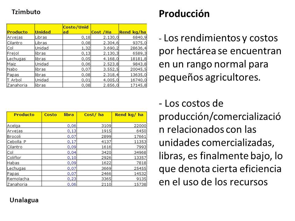 Producción - Los rendimientos y costos por hectárea se encuentran en un rango normal para pequeños agricultores.