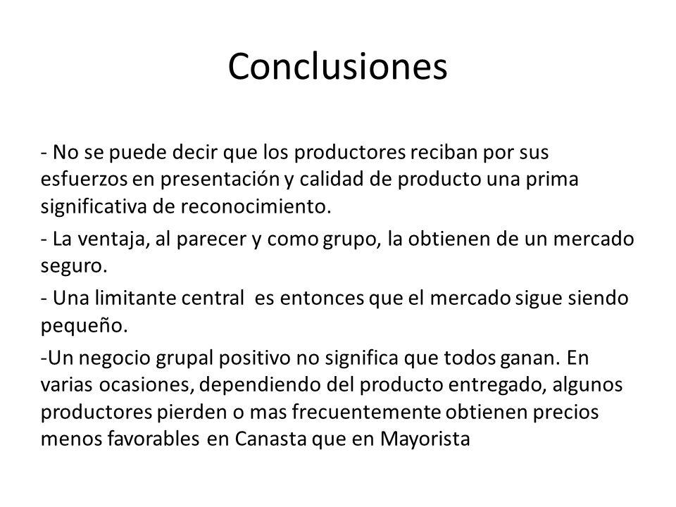 Conclusiones - No se puede decir que los productores reciban por sus esfuerzos en presentación y calidad de producto una prima significativa de reconocimiento.