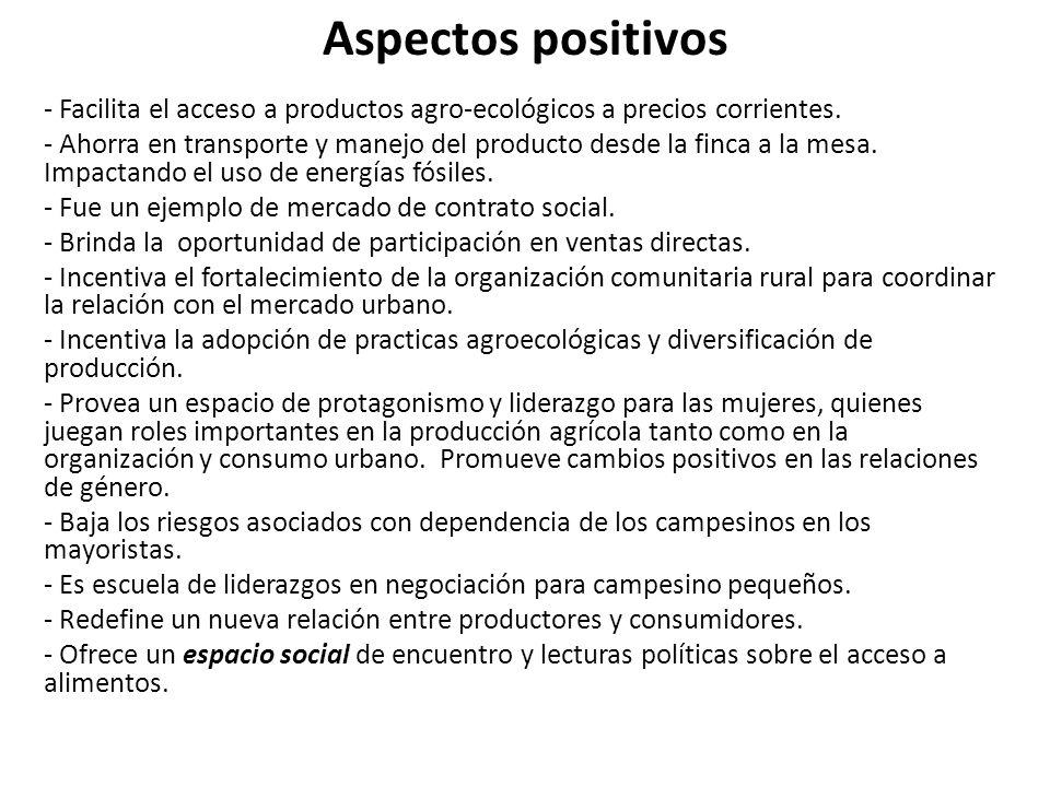 Aspectos positivos - Facilita el acceso a productos agro-ecológicos a precios corrientes.