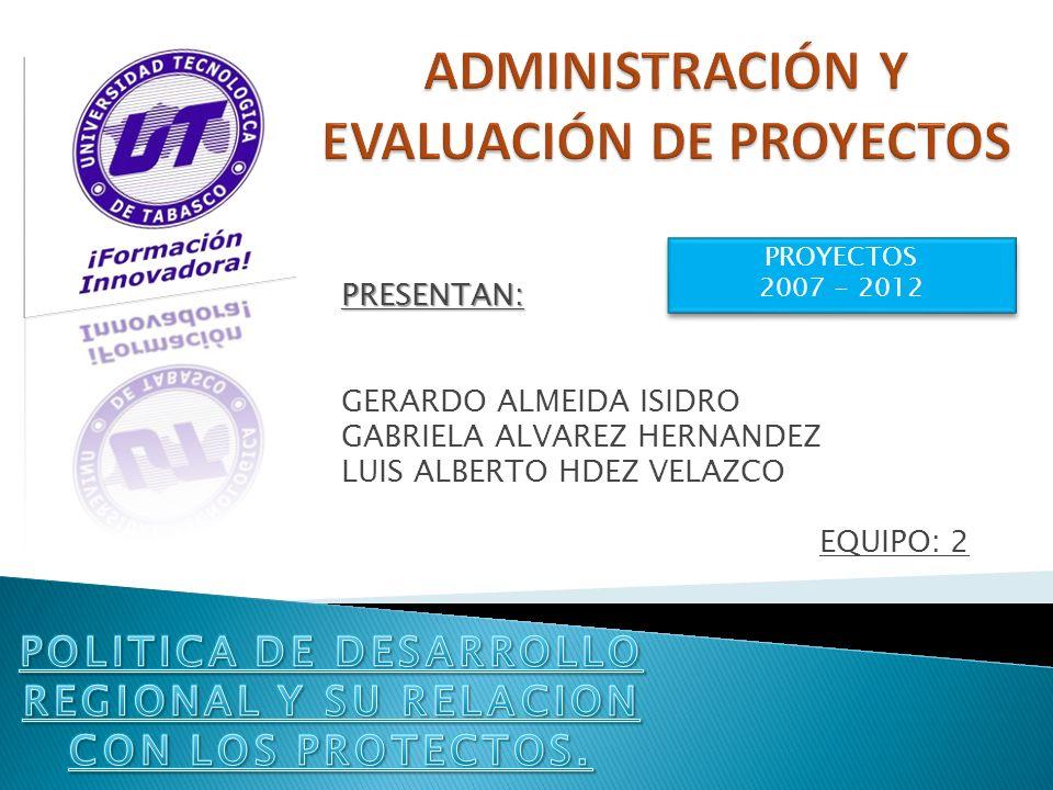 PRESENTAN: GERARDO ALMEIDA ISIDRO GABRIELA ALVAREZ HERNANDEZ LUIS ALBERTO HDEZ VELAZCO EQUIPO: 2 PROYECTOS 2007 - 2012 PROYECTOS 2007 - 2012