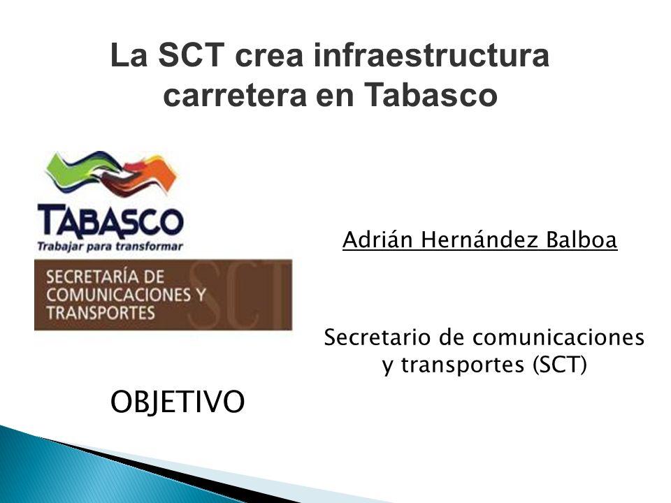 OBJETIVO Secretario de comunicaciones y transportes (SCT) Adrián Hernández Balboa