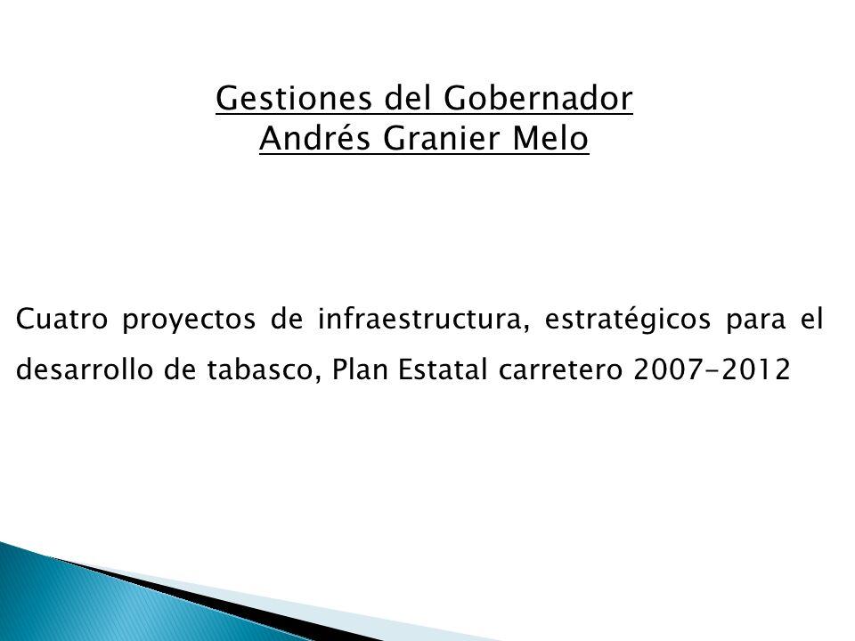 Cuatro proyectos de infraestructura, estratégicos para el desarrollo de tabasco, Plan Estatal carretero 2007-2012 Gestiones del Gobernador Andrés Gran