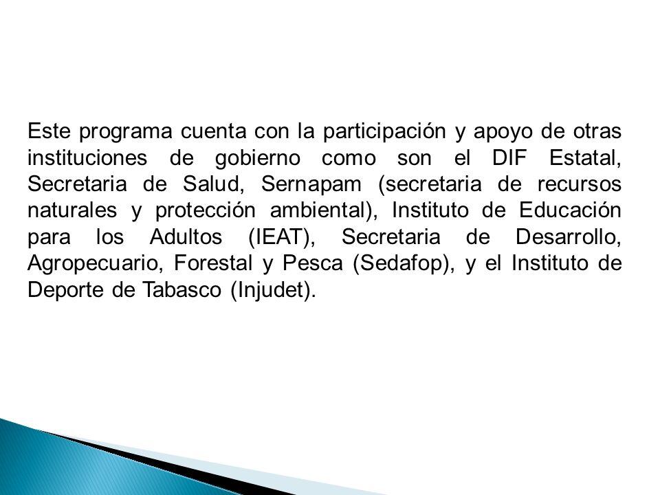 Este programa cuenta con la participación y apoyo de otras instituciones de gobierno como son el DIF Estatal, Secretaria de Salud, Sernapam (secretari