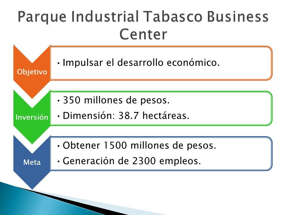 Objetivo Impulsar el desarrollo económico. Inversión 350 millones de pesos. Dimensión: 38.7 hectáreas. Meta Obtener 1500 millones de pesos. Generación