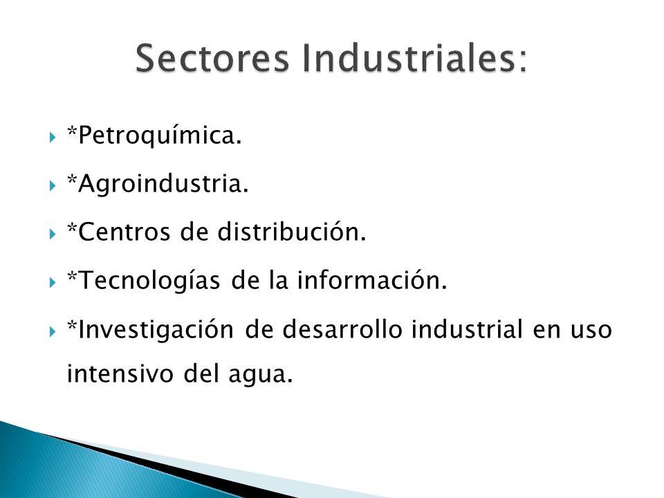 *Petroquímica. *Agroindustria. *Centros de distribución. *Tecnologías de la información. *Investigación de desarrollo industrial en uso intensivo del