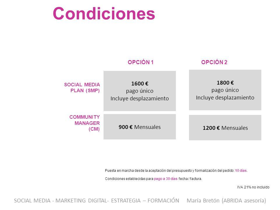 1600 pago único Incluye desplazamiento Condiciones SOCIAL MEDIA PLAN (SMP) Puesta en marcha desde la aceptación del presupuesto y formalización del pe