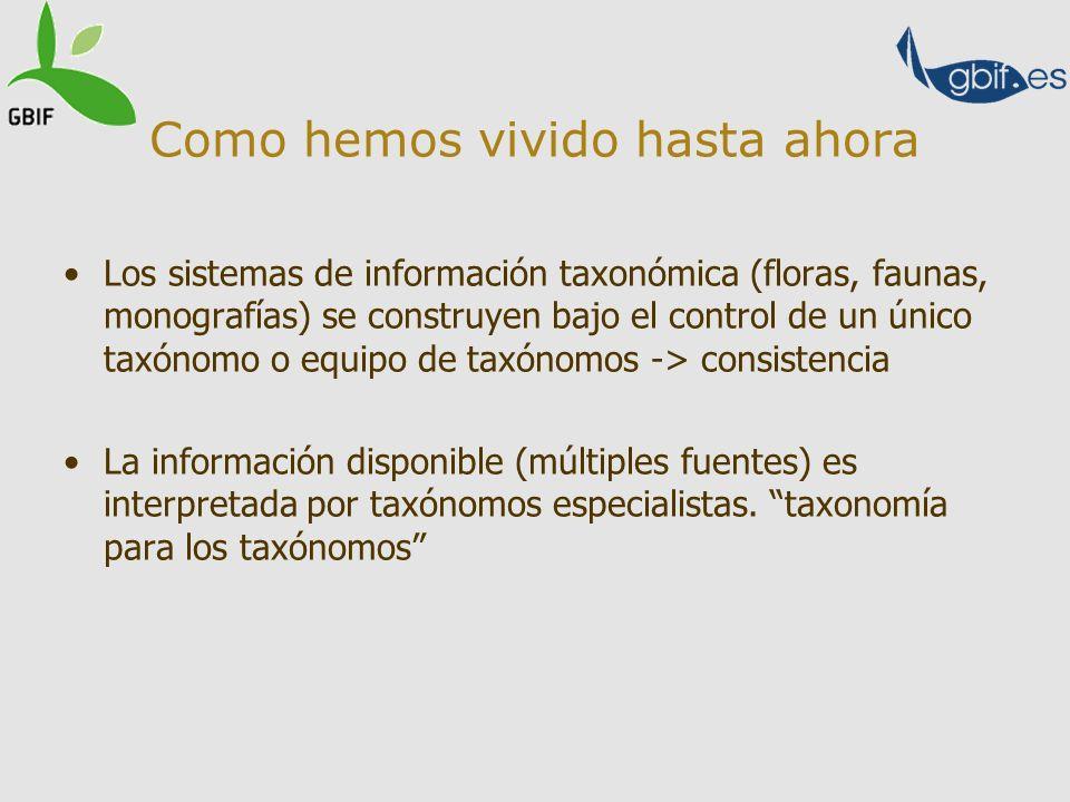 Como hemos vivido hasta ahora Los sistemas de información taxonómica (floras, faunas, monografías) se construyen bajo el control de un único taxónomo