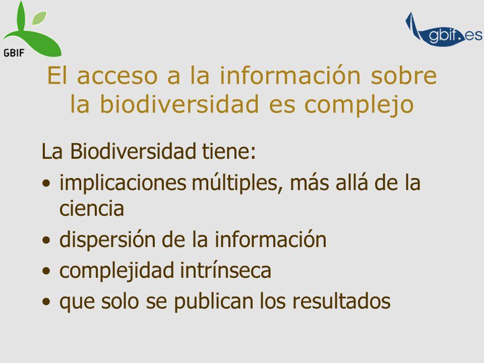 El acceso a la información sobre la biodiversidad es complejo La Biodiversidad tiene: implicaciones múltiples, más allá de la ciencia dispersión de la