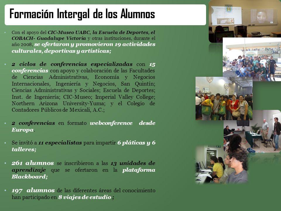 Con el apoyo del CIC-Museo UABC, la Escuela de Deportes, el COBACH- Guadalupe Victoria y otras instituciones, durante el año 2008, se ofertaron y prom