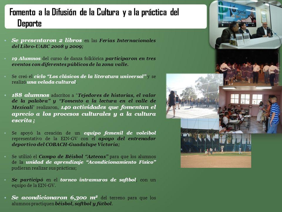 Se presentaron 2 libros en las Ferias Internacionales del Libro-UABC 2008 y 2009; 19 Alumnos del curso de danza folklórica participaron en tres evento