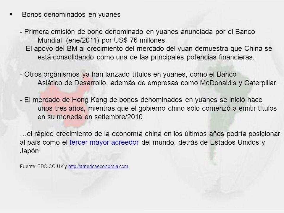 Bonos denominados en yuanes - Primera emisión de bono denominado en yuanes anunciada por el Banco Mundial (ene/2011) por US$ 76 millones. El apoyo del