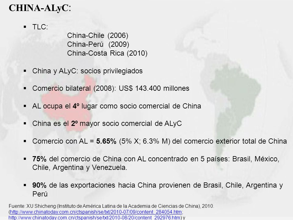 CHINA-ALyC : TLC: China-Chile (2006) China-Perú (2009) China-Costa Rica (2010) China y ALyC: socios privilegiados Comercio bilateral (2008): US$ 143.4