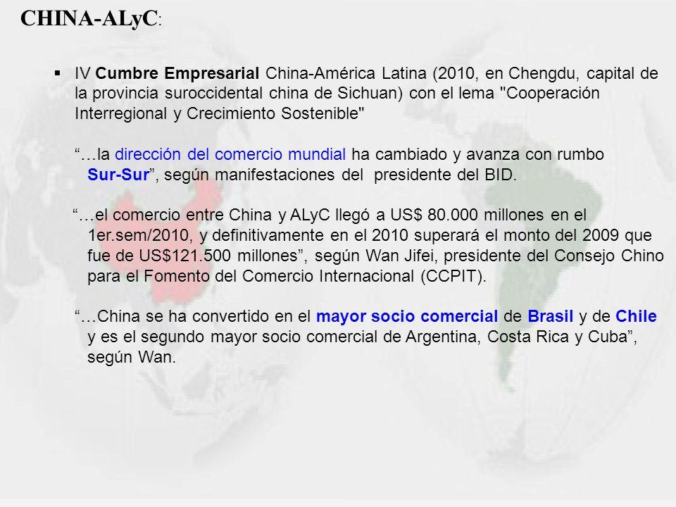 CHINA-ALyC : IV Cumbre Empresarial China-América Latina (2010, en Chengdu, capital de la provincia suroccidental china de Sichuan) con el lema