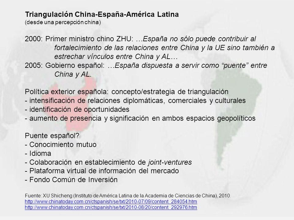 Triangulación China-España-América Latina (desde una percepción china) 2000: Primer ministro chino ZHU: …España no sólo puede contribuir al fortalecim