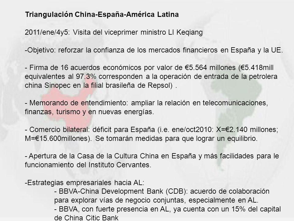 Triangulación China-España-América Latina 2011/ene/4y5: Visita del viceprimer ministro LI Keqiang -Objetivo: reforzar la confianza de los mercados fin