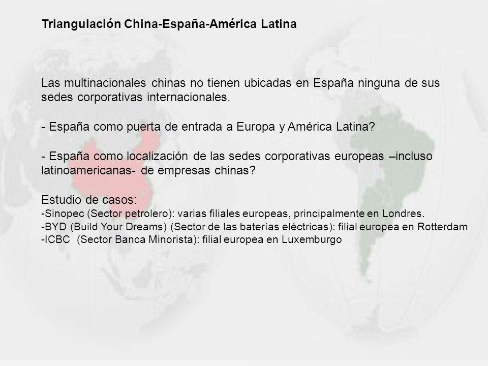 Triangulación China-España-América Latina Las multinacionales chinas no tienen ubicadas en España ninguna de sus sedes corporativas internacionales. -