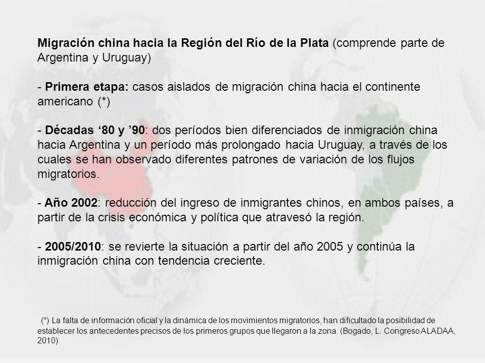 Migración china hacia la Región del Río de la Plata (comprende parte de Argentina y Uruguay) - Primera etapa: casos aislados de migración china hacia