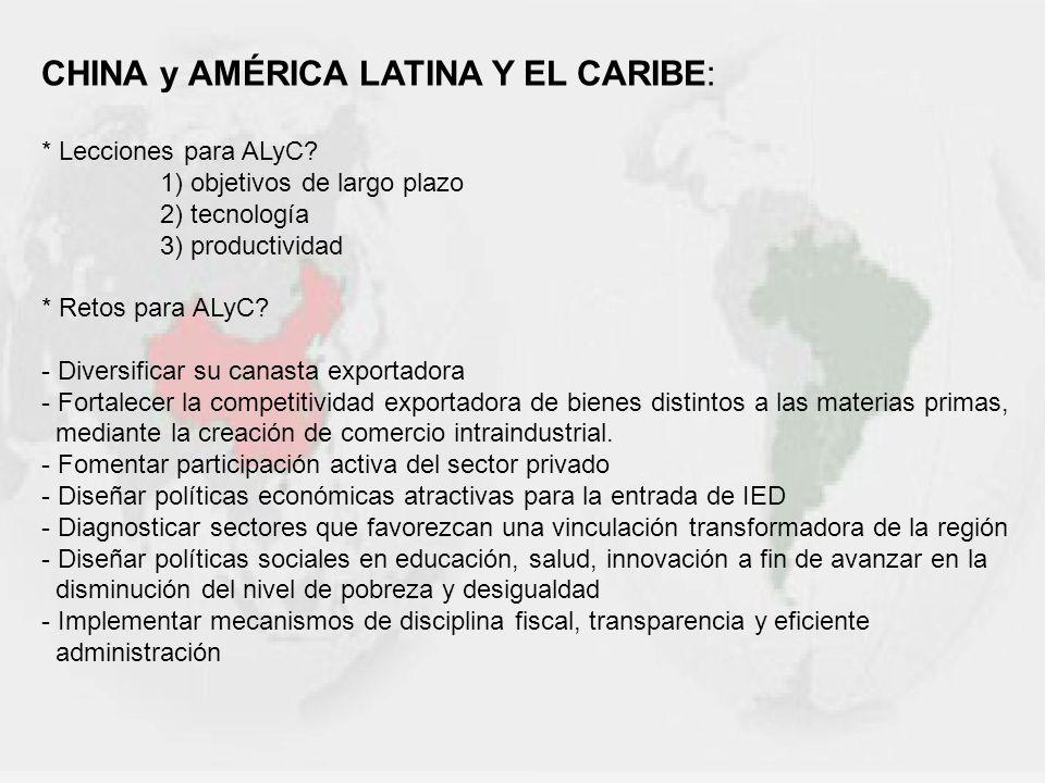 CHINA y AMÉRICA LATINA Y EL CARIBE: * Lecciones para ALyC? 1) objetivos de largo plazo 2) tecnología 3) productividad * Retos para ALyC? - Diversifica